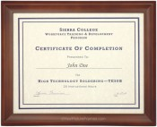 Contoured Stained Wood Dark Walnut Diploma Frame