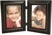 Weathered Antique Black Double Picture Frame