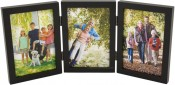 Simple Wood Black Triple Picture Frame