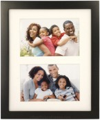 Simple Black Wood Matted Double Picture Frame