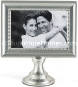Satin Silver Pedestal Wedding Picture Frame