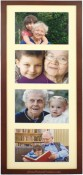 Dark Walnut Wood Linear Matted Collage Picture Frame