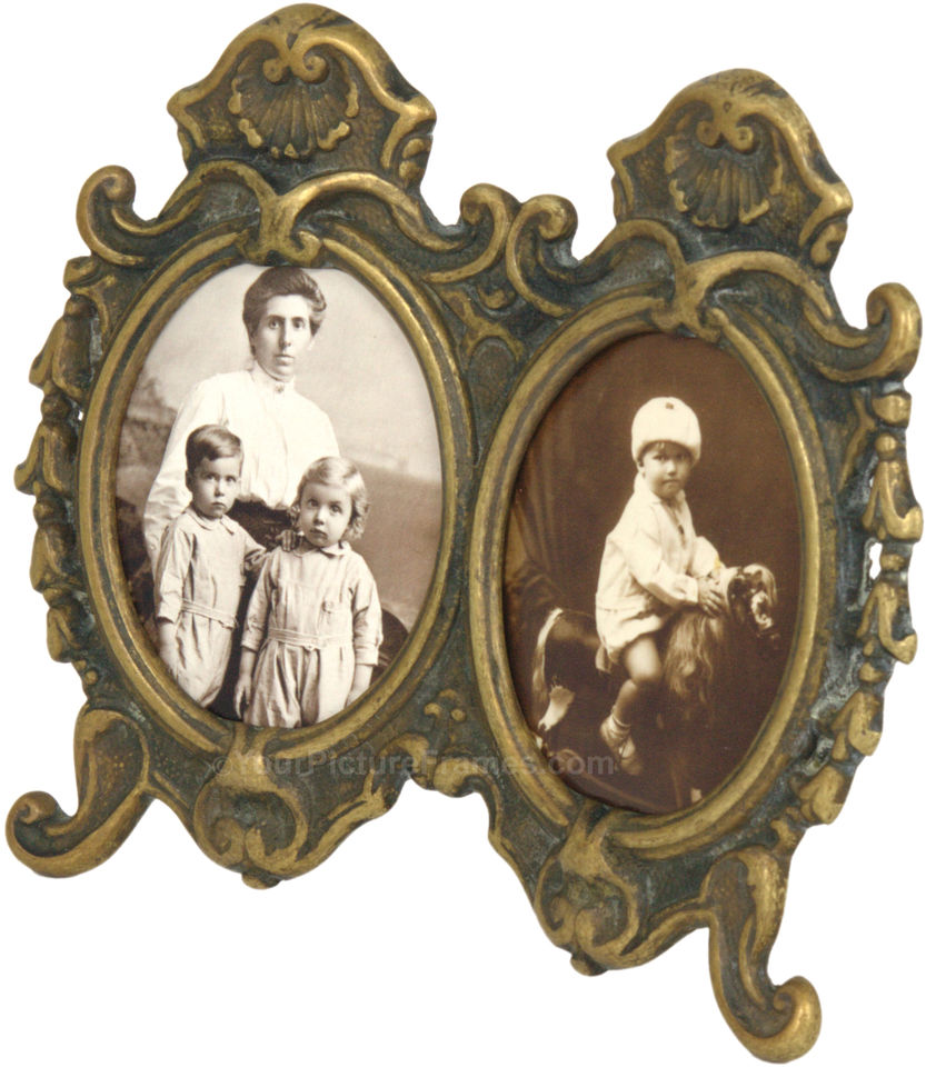 Vintage double oval picture frame image 2 jeuxipadfo Image collections