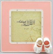 Pink Baby Shoes Square Picture Frame