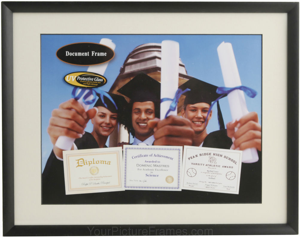 cosmo black metal matted archival diploma frame