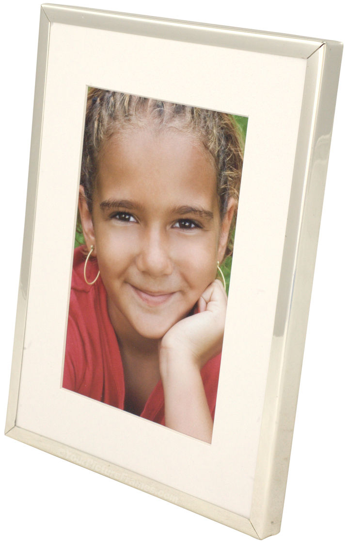 Silver Plated Picture Frame With Bevel Cut Mat