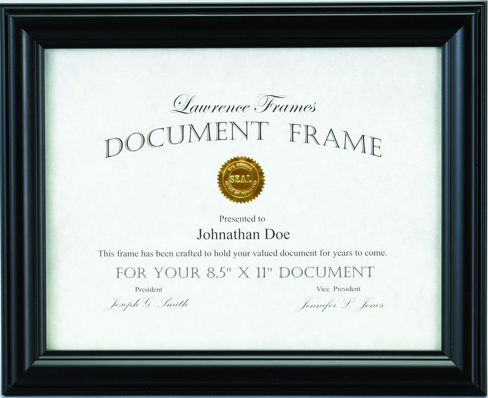 Simple Black Diploma Frame