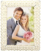 Past Times White Jeweled Picture Frame