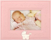 Pink Embossed Baby Picture Frame