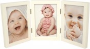 Simple Wood White Triple Picture Frame