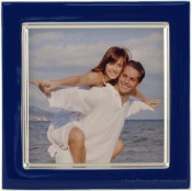 Midnight Blue Enamel Square Silver Plate Picture Frame