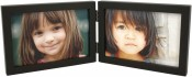Simple Wood Black Horizontal Double Picture Frame
