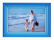 White and Blue Frame with Wood Mats