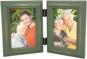 Weathered Antique Green Double Picture Frame