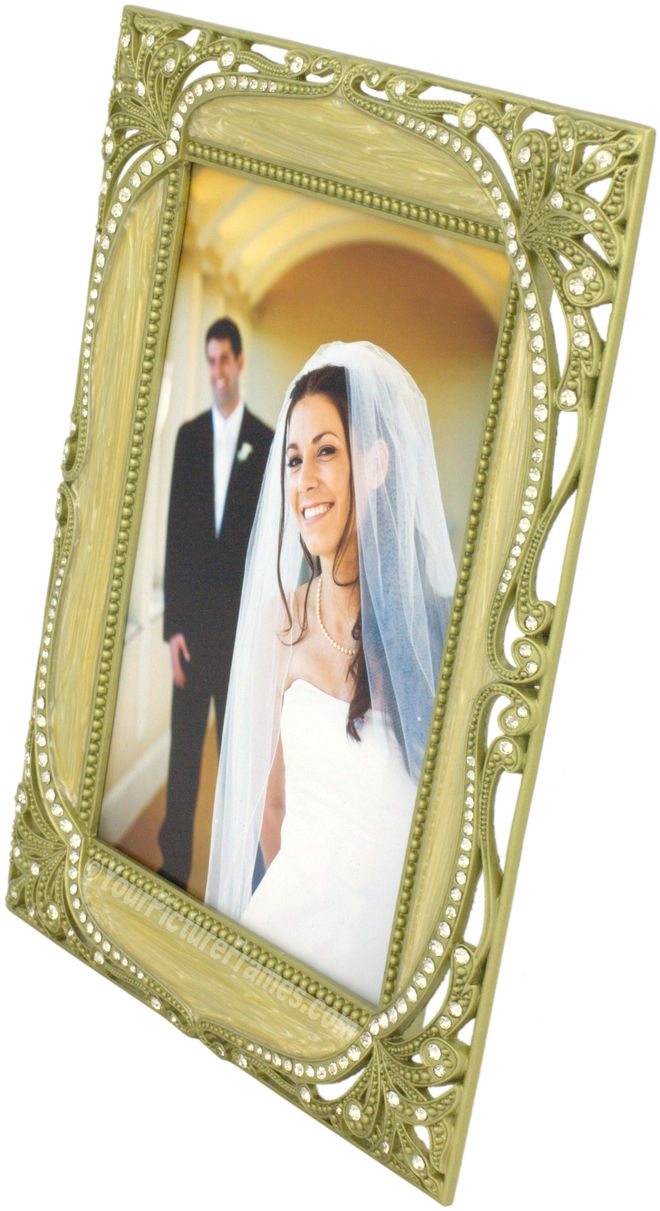 Baroque Taupe Jeweled Picture Frame
