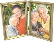 Brushed Brass Beaded Double Picture Frame