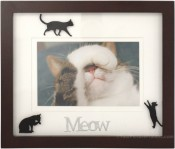 Meow Black Cat Picture Frame