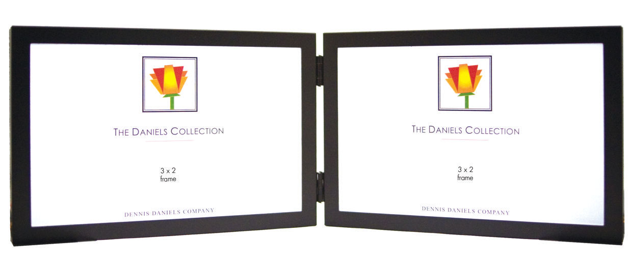 Black Metal Horizontal Double Picture Frame