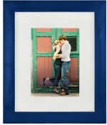 Glazed Blue Metal Picture Frame with White Mat