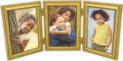 Burnished Gold Leaf Triple Picture Frame