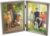 Brushed Pewter Double Picture Frame with Beading