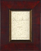 Eva Distressed Red Burl Wood Frame