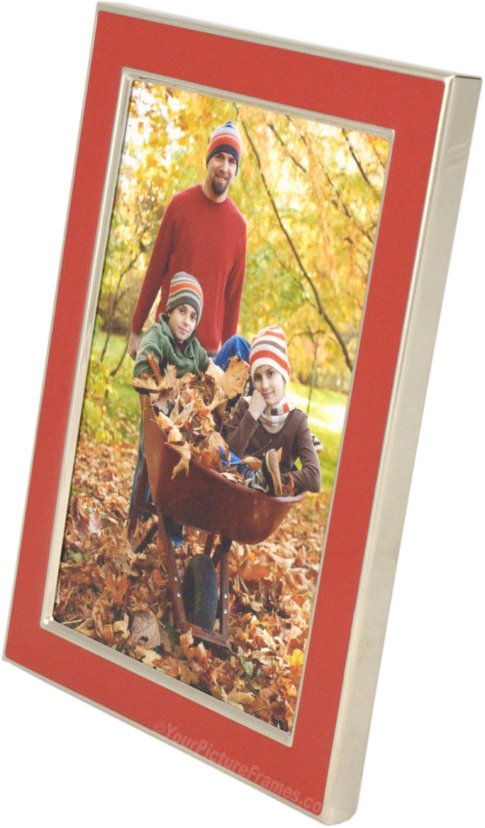 Red Enamel Silver Plated Picture Frame